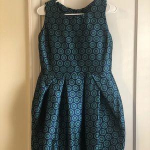 Pink Tartan navy and teal fit and flare dress